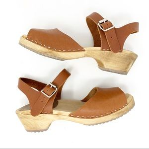 MIA Anja Brown Open Toe Leather Clog Sandals Sz 7